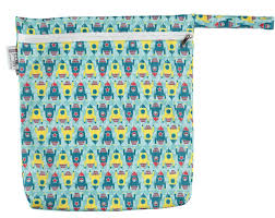 Pop-in small tote zippered wetbag Rockets